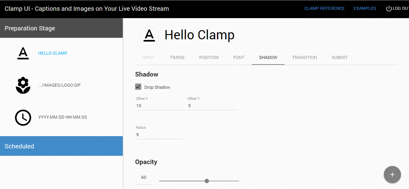 Shadow support on Clamp UI