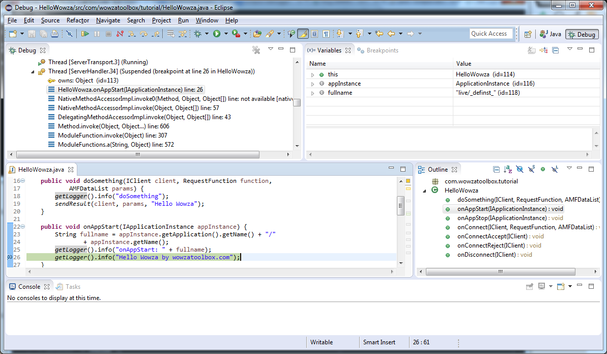 Debugging your Wowza Module from Eclipse | Streamtoolbox com